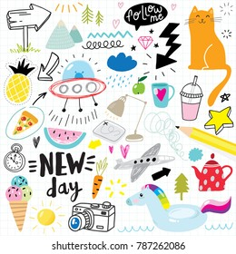 cute hand drawn doodle set with icons and design elements