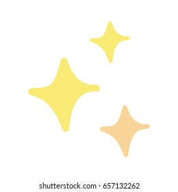 Cute hand drawn doodle sparkles in yellow and light orange. Vector illustration doodle drawing. Set of three golden sparkles or stars.