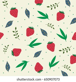 Cute hand drawn doodle strawberry pattern. Vector background with strawberries and leaves.