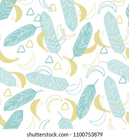 Cute hand drawn doodle vector seamless pattern in naive style. Tropical summer illustration with bananas and leaves for surface design and fabric.