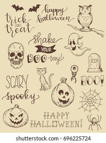 Cute hand drawn doodles and sentiments for Halloween.