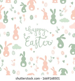 Cute hand drawn Easter Card design with Easter eggs, flowers and bunnies.