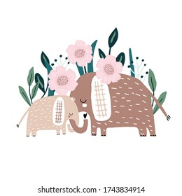 Cute hand drawn elephanst Mom and baby with floral bacground. Cartoon vector illustration in scandinavian style