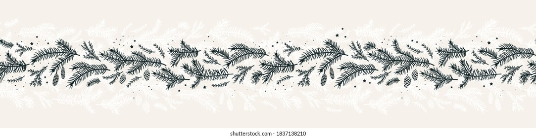 Cute hand drawn fir branches seamless pattern, lovely winter and christmas background with doodle stars, great for textiles, banners, wallpapers, cards - vector design