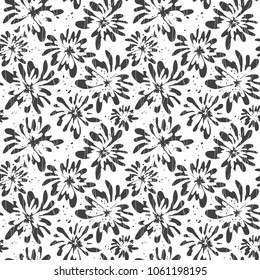 Cute hand drawn floral seamless pattern. Black and white abstract sketch flowers, scribbles, waves. Vector botanical decorative background design for fabric textile ditsy print, wallpaper, gift wrap.