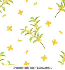 Cute hand drawn flowering tree background. Cartoon fragrant tea olive tree pattern background. Sweet osmanthus or osmanthus fragrans and evergreen foliage background. Great for wallpaper, textile.