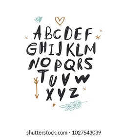 Cute hand drawn font. Decor elements for postcards, cards, posters, souvenirs and more. Nursery signs for baby room. Vector, clip art and jpg. Isolated.
