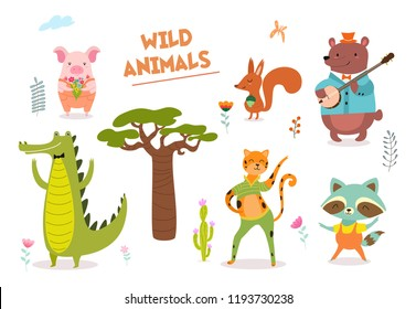 Cute hand drawn forest animals and floral elements. Ideas for postcards and posters. Vector illustrations.