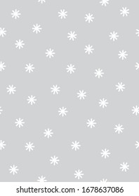 Cute Hand Drawn Geometric Vector Pattern. White Abstract Stars Isolated on a Light Gray Background. Funny Infantile Style Vector Print ideal for Fabric, Textile, Wrapping Paper.