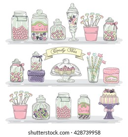 Cute hand drawn glass jars with candies and sweets.  Candy bar. Candy buffet. Shelves with jars.
