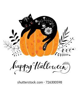 cute hand drawn Halloween black cat