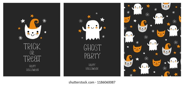 Cute Hand Drawn Halloween Cards and Pattern. Little White Ghost on a Black Background. White Hand Written Ghost Party, Happy Hallween and Trick or Treat. Funny Cat in a Hat. Ghosts and Cats Pattern.
