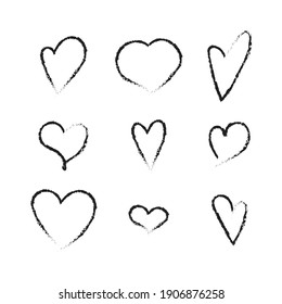 Cute hand drawn heart shapes set. Grunge elements isolated on white background. Vector illustration.