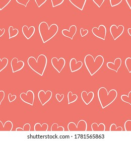 Cute hand drawn hearts seamless pattern, lovely romantic background, great for Valentine's Day, Mother's Day, textiles, wallpapers, banners  - vector design