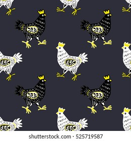 Cute hand drawn hen in seamless pattern in Vector. Animal background with doodle domestic birds hen or rooster. Funny hen seamless background in black and white, gray and yellow colors. Hen for design