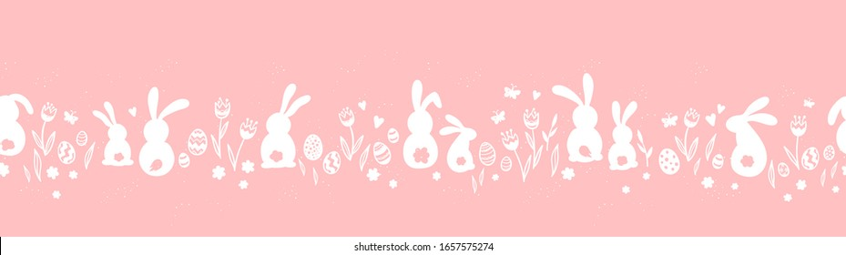 Cute hand drawn horizontal seamless pattern with bunnies, easter eggs, flowers and butterflies, great for banners, wallpapers, websites, cards - vector design