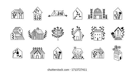Cute hand drawn houses set