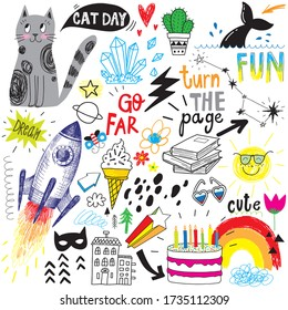 cute hand drawn icon doodle set, cat, rocket, ice cream, rainbow, sun, cake.