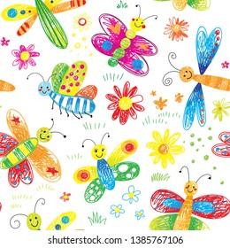 cute hand drawn kids doodle butterfly seamless pattern