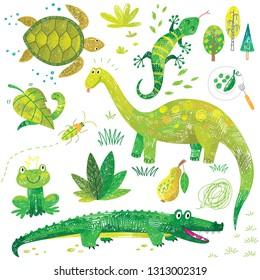 cute hand drawn kids green doodles