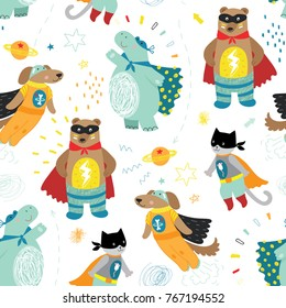 cute hand drawn kids superhero seamless pattern with dog, cat, bear and hippo