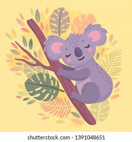 Cute hand drawn koala sleeping on the branch. Lazy jungle animal character. Vector illustration.