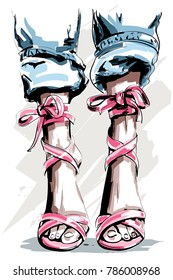 Cute hand drawn legs in shoes. Beautiful summer shoes. Fashion accessories. Sketch. Vector illustration.