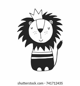 Cute hand drawn lion  nursery poster in Scandinavian style. Monochrome vector illustration.