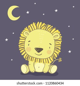 Cute hand drawn lion. Print for baby Shower