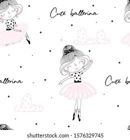 Cute hand drawn with cute little girl ballerina vector seamless pattern illustration