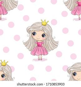 Cute hand drawn with cute little girl vector seamless pattern illustration. Cute Cartoon Princess. Hand drawn vector illustration with girl cute print