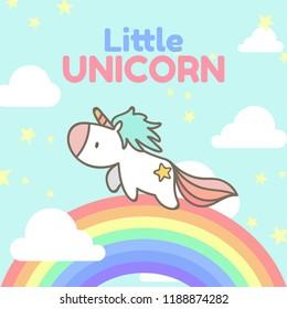 Cute hand drawn little unicorn running on the rainbow. Cute cartoon character. Vector illustrator.
