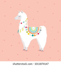 cute hand drawn llama for baby girl nursery