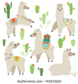 cute hand drawn llama set
