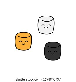 Cute hand drawn marshmallow vector illustrations. Halloween themed, colored marshmallows candy, isolated.