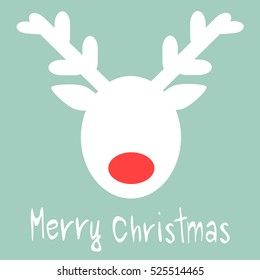 cute hand drawn merry christmas vector greeting card with  reindeer silhouette