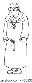 Cute hand drawn monk character, black and white, simple, vector illustration