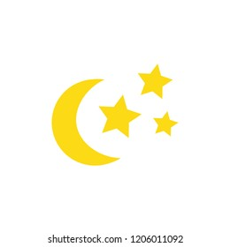 Cute hand drawn moon and stars vector illustration. Shiny crescent moon and sparkles. Halloween themed, night sky objects, isolated.