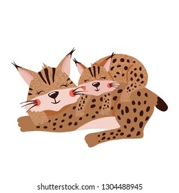 Cute hand drawn mother lynx with linx cub isolated on white background. Forest animal. Family concept. Mother day. Vector illustration.