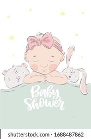 Cute hand drawn Newborn baby. Vector print for Baby Shower invite and baptism invitation. Birth poster for baby