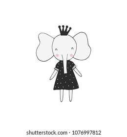 Cute hand drawn nursery poster with elephant in scandinavian style. Monochrome vector illustration.