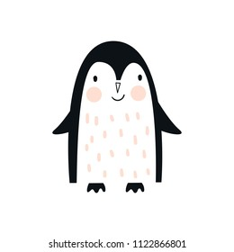 Cute hand drawn nursery poster with penguin animal. Vector illustration in candinavian style.