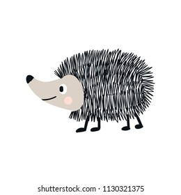 Cute hand drawn nursery poster with hedgehog animal. Vector illustration in candinavian style.