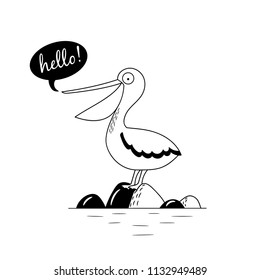 Cute hand drawn nursery poster with bird Pelican character. The Pelican sits on the rocks. Monochrome vector illustration for children in Scandinavian style.