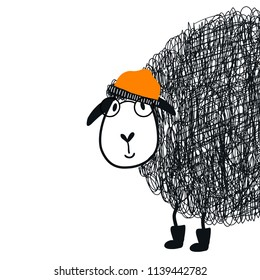 Cute hand drawn nursery poster with cartoon sheep animal character with glasses and a cap. Vector illustration in scandinavian style.