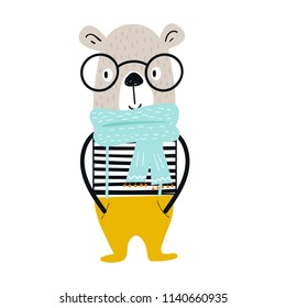 Cute hand drawn nursery poster with cartoon cool bear animal with glasses and vest. Vector illustration in scandinavian style.