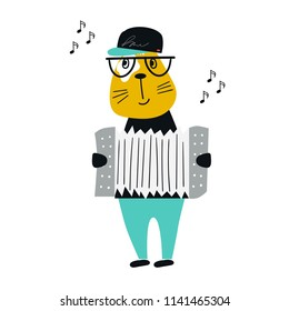 Cute hand drawn nursery poster with cartoon cat animal with accordion. Vector illustration in scandinavian style.