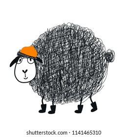 Cute hand drawn nursery poster with cool cartoon sheep animal character with glasses and a cap. Vector illustration in scandinavian style.