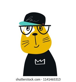 Cute hand drawn nursery poster with cartoon cool cat animal with glasses and baseball cap. Vector illustration in scandinavian style.
