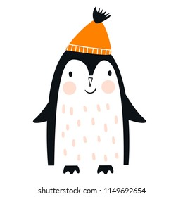 Cute hand drawn nursery poster with penguin animal in scandinavian style. Kids vector illustration.